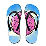 Couple Slipper Doughnut Sunshine Print Flip Flops Unisex Chic Sandals Rubber Non-Slip Spa Thong Slippers