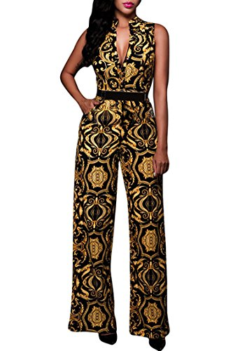 (Pink Queen Womens Button Up Printed Long Wide Leg Pant Party Jumpsuits with Belt XL Gold)