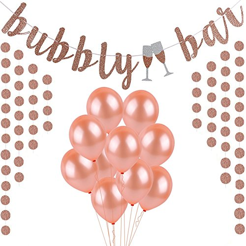 Rose Gold Glitter Bubbly Bar Banner, Rose Gold Paper Cicle Dots Banner and Rose Gold Latex Balloons,For Bachelorette,Bridal Shower,Engagement,Wedding Party Supplies by Sorive