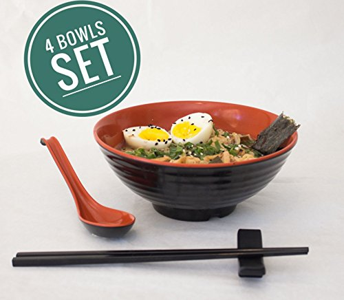 4 sets (16 pieces) Melamine bowls for serving Japanese Ramen Noodle Soup with Matching Spoon and Chopsticks (+ stand), Microwave Dishwasher Safe, Udon Miso Pho Thai Curry soba (free recipe ebook)