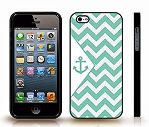 Case For Ipod Touch 4 Cover with Chevron Pattern Grey/ Mint Stripes Mint Anchor , Snap-on Cover, Hard Carrying Case (Black)