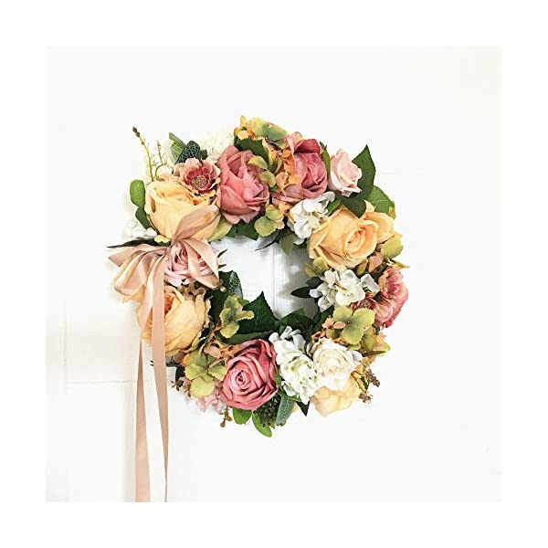 LI HUA CAT Handmade Floral Artificial Flowers Garland Rose Wreath for Home Party Decor (Valentine's Wreath-Orange)