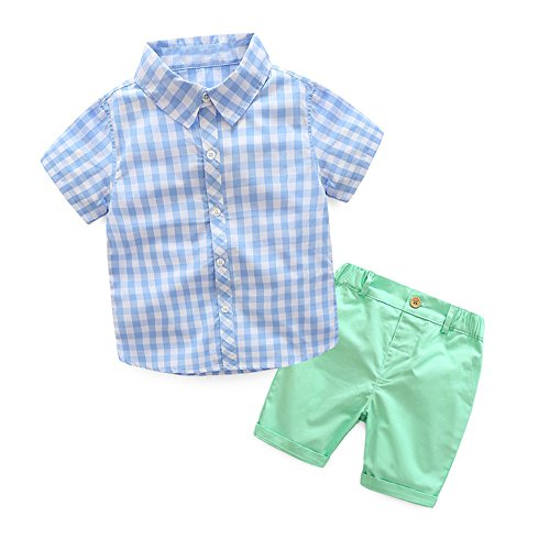 Top and Top Boys Clothing Short Sets 2Pcs Plaid Shirt Button-Down Tops and Casual Short Pants (140/6t, Light Blue) Le Top Receiving Blanket