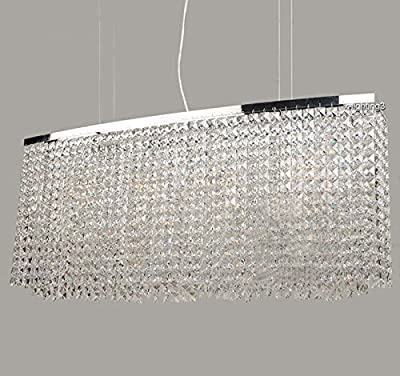 "7PM L47"" x W11"" x H16"" Modern Contemporary Luxury Linear Oval Island K9 Clear Crystal Bar Raindrop Chandelier Lighting LED Ceiling Light Fixture Pendant for Dining Room Bedroom Livingroom Over Table"