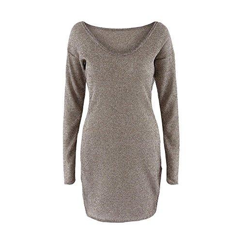 - HANANei Womens Long Sleeve Jumper V-Neck Low-Cut Knit Sweater Dress (L)
