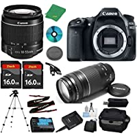 Canon EOS 80D Camera with 18-55mm IS STM Lens + 75-300mm III Zoom + 2pcs 16GB Memory + Camera Case + Card Reader + Professional Tripod + 6pc Starter Set - International Version