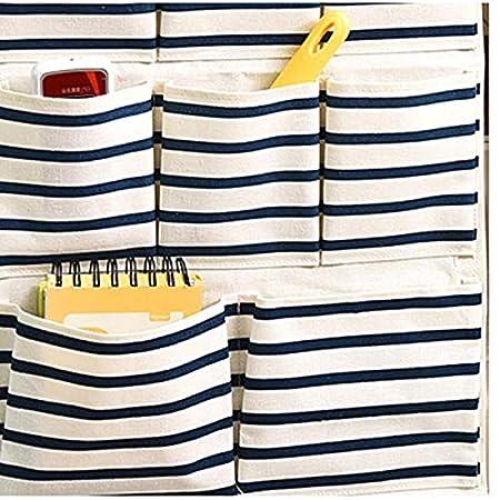 Lubier 1 Pcs Sac de Rangement Mural Sac de Rangement Suspendu Simple Mode Multifonctionnel Pochette de Rangement /à Suspendre Sac de Rangement cosm/étique pour Jouet 8 Poches Bleu Blanc