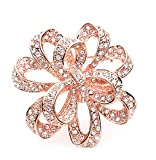 Sojewe Women Charm Yellow Rhinestonel Rose Gold Plated Flower Brooch Pin for Banquet Dress