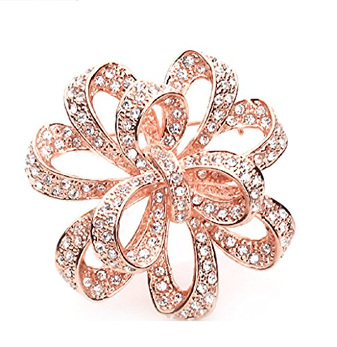 Sojewe Women Charm Yellow Rhinestonel Rose Gold Plated Flower Brooch Pin for Banquet Dress (Rose Yellow Brooch)