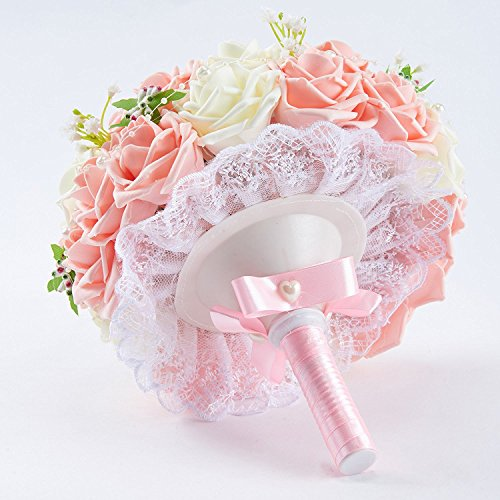 Sisjuly Lace Pearl Rose Holding Wedding Bridesmaid Bouquet with Flower Pink&White