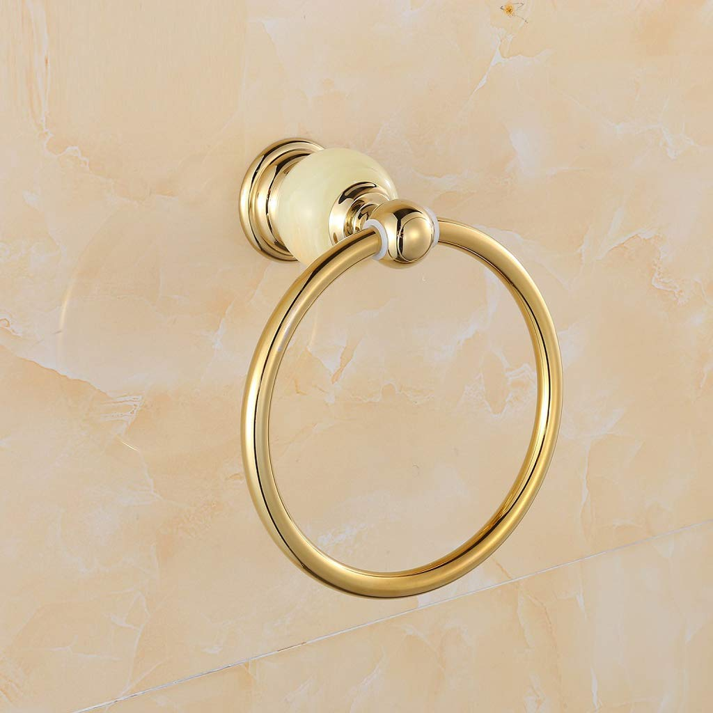 ZHANGY Jade Decorative Towel Ring, Home Bathroom Wall Mounted Stainless Steel Ring Holds a Towel, European Retro Style Luxury