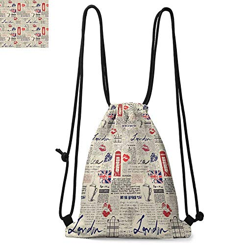 Tea Party Drawstring backpack series London Newspaper Inspired Background with Grunge Elements Kiss Marks Convenient choice for daily activities W17.3 x L13.4 Inch Beige Navy Blue Red