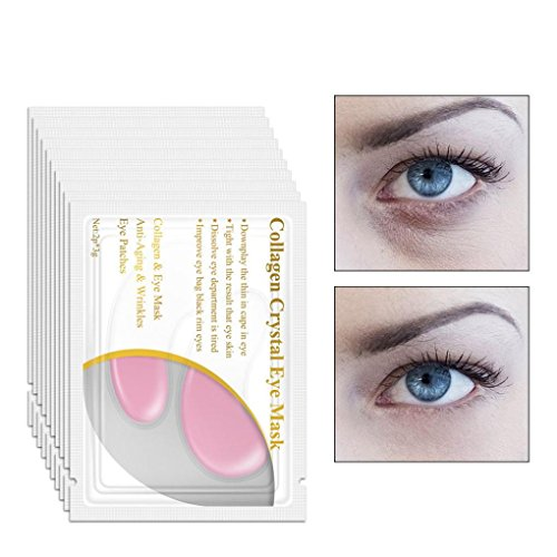 LiPing 10PCS Crystal Gel Patch Anti Mask Eye Masks Anti-Wrinkle Eyelid Patch Circle Remove Dark Circles Under Eye Treatment Pad Patch Anti Mask (pink)]()
