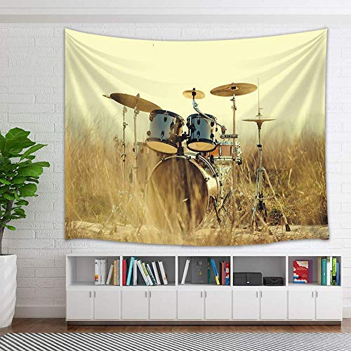 COLORFULSKY Western Country Music Tapestry, Musical Instruments Grunge Drum in Field Tapestry Wall Hanging Wall Art for Bedroom Living Room Collage Dorm Home Decor Bedspread, 60