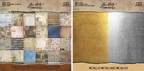 Tim Holtz Idea-0logy Paper - Metallic Kraft-Stock and Mini Stash Etcetera - 8 x 8 Inch Paper Pad Sets