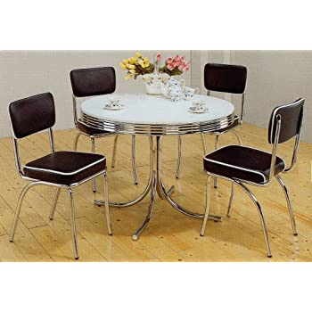 Amazon Com 5pcs Retro White Round Dining Table 4 Red Chairs Set
