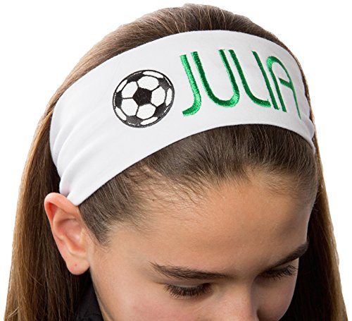 Personalized Monogrammed Embroidered Soccer Ball Patch Cotton Stretch Headband CHOOSE YOUR CUSTOM COLORS FROM CHARTS IN THIS LISTING – DiZiSports Store
