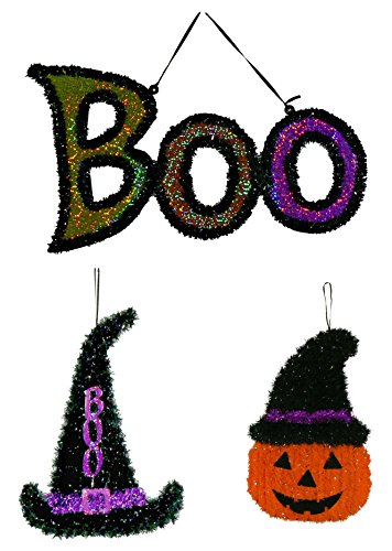 Hanging Tinsel Halloween Character Bundle - 3 pc Witchy Pumpkin, Shimmering Boo, Black Witch Hat