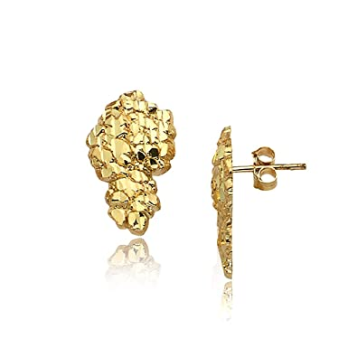 4bee493de2eae LoveBling 10K Yellow Gold Nugget Earrings (0.77