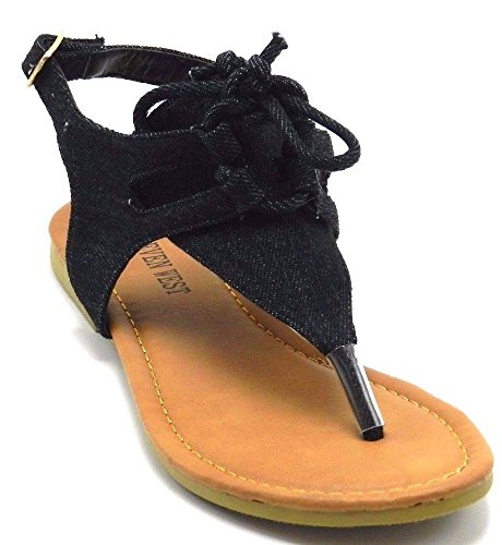 Nye Kvinner Gladiator Sandaler Thong Flip Flops T Stropp Flat Strappy Toe Sko Kjøre Små, Gå En Sz Opp Svart