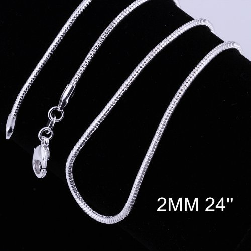 Yuren 3 Pieces 925 Sterling Silver 2mm Snake Chain Necklace Jewelry Jewelry for Men and Women(16-24 inch) (24 inch) ()