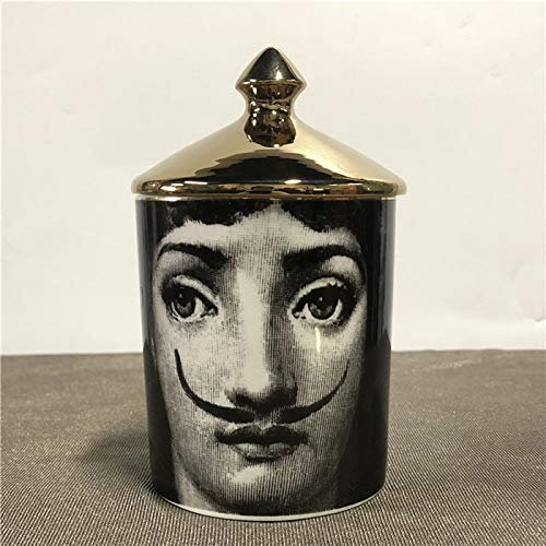 Roza Candle Holders - Fornasetti Candle Holder DIY Handmade Candles Jar Retro Lina Face Storage Bin Ceramic Caft Home Decoration Jewerlly Storage Box 1 PCs (Candle Hurricane Jar)