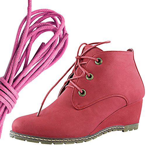 DailyShoes Womens Fashion Lace Up Round Toe Ankle High Oxford Wedge Bootie, Pink Red Pu