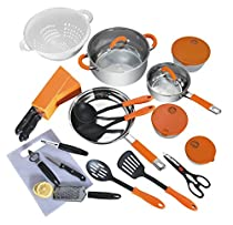 Veica,Highly Durable,24 Pieces Stainless-Steel Cookware Set,Kitchen Gadgets,Orange