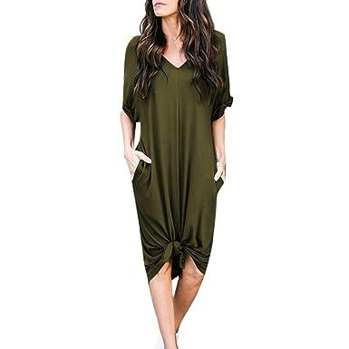 c84b85a76d87 Yanhoo V-Ausschnitt Einfarbig Lange Casual Solide Kurzarm Knie Länge Kleid  Locker Partykleid