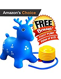 ToysOpoly Inflatable Hopper - Cutest Bouncy Chair for kids on Amazon, Real Heavy Duty Eco-Friendly Rubber + Free Foot Pump, Bring a Ton of Fun (Blue)