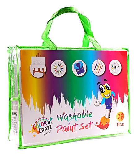 ColorCrayz Washable Paint Set for Kids | 27 Piece Complete Art Paint Kit with 12 Colors Washable Kids Paint, Brushes 8x10 Pre Drawn Fun Canvas Easel & Smock ()
