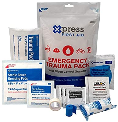 Xpress First Aid Emergency Trauma Pack with Bleed Control Granules from Acme United