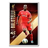 Liverpool FC Mario Balotelli Poster Cork Pin Memo Board Silver Framed - 96.5 x 66 cms (Approx 38 x 26 inches)