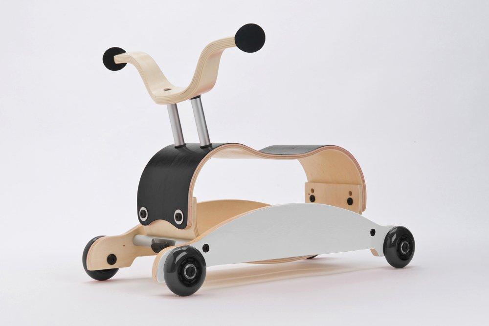 WISHBONE mini FLIP mix & match 3in1 - Laufwagen + Rutschauto + Schaukel in Farbe: Top schwarz + Base weiß + Räder schwarz