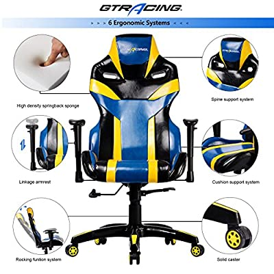 GTRACING Executive High-Back Gaming Chair Computer Office Chair PU Leather Swivel Chair Racing Chair by GTRACING