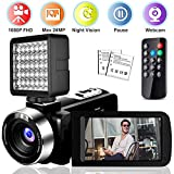 Video Camera Camcorder,Vlogging Camera Recorder for YouTube Full HD 1080P 30FPS 16X Digital Zoom Vlog Camera Support Night Vision Pause Function Time Lapse & Motion Detection (BV0J)