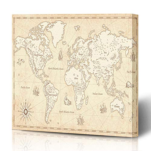 (Ahawoso Canvas Prints Wall Art 12x12 Inches Europe Antique Great Detail World Map Wind Vintage Mountain Ship Globe Africa Parchment Wooden Frame Printing Home Living Room Office Bedroom)