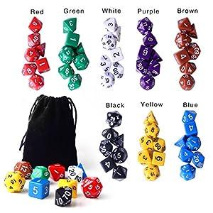 Zealor 8 x 7 (56 Pieces) Polyhedral Dice 8 Color Dungeons and Dragons DND MTG RPG D20 D12 D10 D8 D6 D4 Game Dice Set