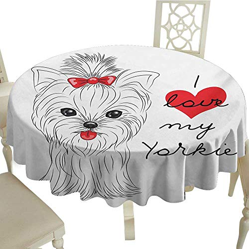 Cranekey Polyester Round Tablecloth 70 Inch Yorkie,I Love My Yorkie Cute Terrier with its Tounge Out Adorable Yorkshire Terrier,Black White Red Great for,Wedding & More