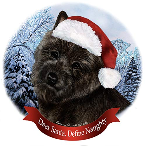 Holiday Pet Gifts Cairn Terrier Black Dog Santa Hat Porcelain Ornament