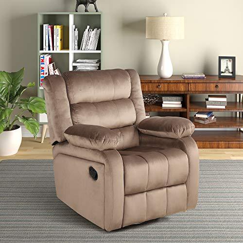 FLIEKS Velvet Upholstery Rocker and Swivel Recliner Chair for Living Room Ergonomic Lounge Comfy Glider Recliner Chair 360 Degree Swivel (Brown)