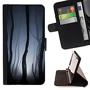 Spooky Forest Lights Grey Night Scary - Painting Art Smile Face Style Design PU Leather Flip Stand Case Cover FOR LG Nexus 5 D820 D821 @ The Smurfs