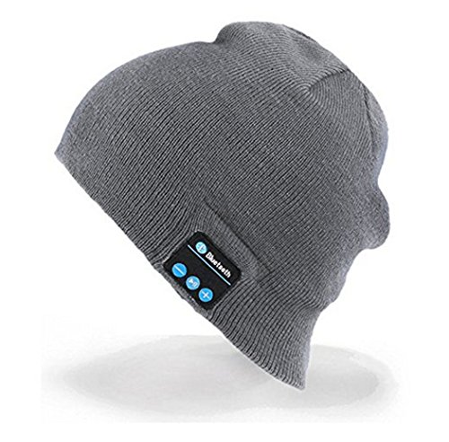 Premium Knit Winter Bluetooth 4.1 Hat Warm fashionable hat with Stereo Speaker with Removable Headrest Christmas Tech Gifts for Teen Young Boys Girls Men Women (Gray)