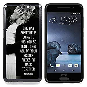 "For HTC One A9 Case , Amor Heartbreaks Familia Negro Blanco"" - Diseño Patrón Teléfono Caso Cubierta Case Bumper Duro Protección Case Cover Funda"
