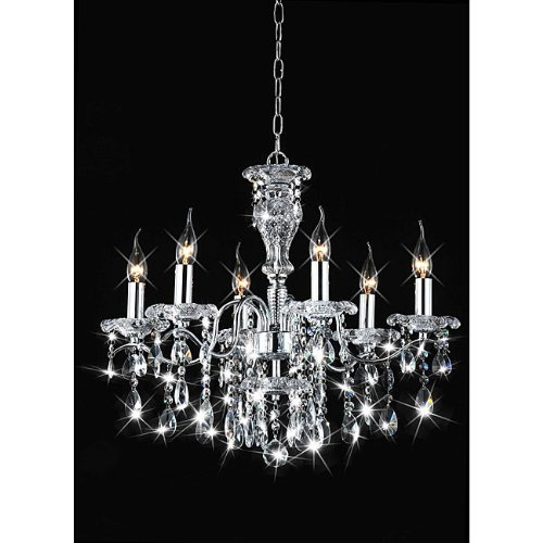 Six Accents Chandelier Light (Indoor 6-light Chrome/ Crystal Candle Light Chandelier)