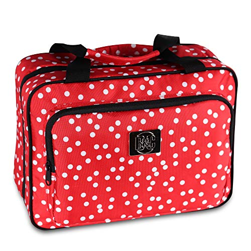 Large Travel Cosmetic Bag For Women - XL Hanging Travel Toiletry And Makeup Bag With Many Pockets in Red Polka Dot
