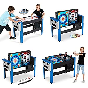 48 Inch 4 IN 1 Swivel Combo Game Table With Air Hockey, Ring Toss, Archery  And Target Shooting Games