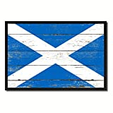 Scotland National Country Flag Shabby Chic Canvas Print Picture Frame Gift Ideas Home Decor Office Wall Art 7″ x 10″ Review