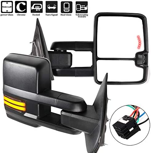 OCPTY Rearview Mirrors Power Heated Towing Mirrors ForChevy 2014-2018 GMC 2014-2018 with Running Lamp Reversing Lamp Black housing 116349-5209-1517511221
