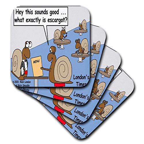 3dRose CST_2359_3 Snail Orders Escargot Ceramic Tile Coasters, (Set of 4)